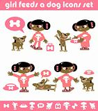 Girl Feeds a Dog Icons Set Vector