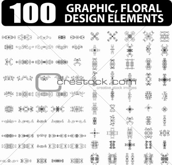 100 Graphic, floral, tattoo design elements books, cards decor o