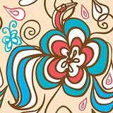 Abstract Flower seamless background doodle with butterfly