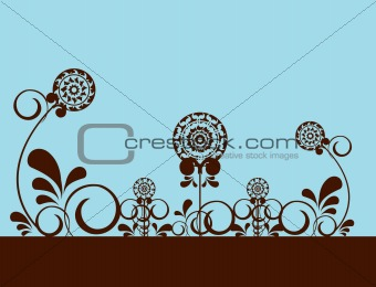 Abstract flowers on blue background 2