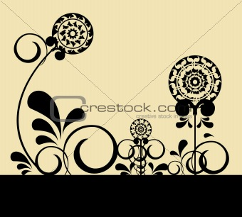 Abstract flowers on light background