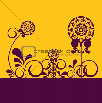 Abstract flowers on orange background