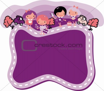 Back to School vector frame border baby, nature,car fake paper t