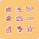 Beach vacation vector icons set 1