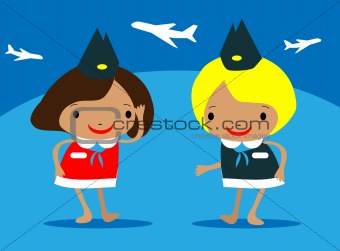 beautiful Stewardess at the airport vector illustration girls