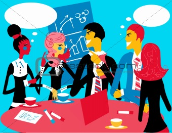 Business group meeting portrait - Five business people working t