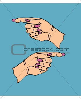 Pointing Female hand finger with manicure