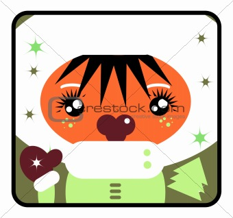 Little girl at Christmas time. Cute Vector Label