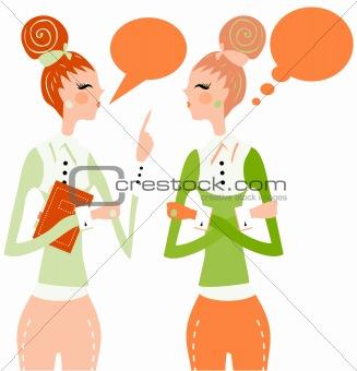 business woman talking speech think bubble