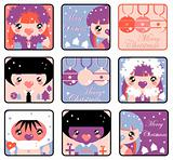 Big Christmas Kids Icons Set. Boys and girls emblem from big kid