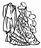 Couple Wedding dress white and black