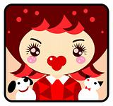 Cute Girl with dog and cat emblem, icon. Pets and woman from big