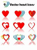 9 Vector heart icons set