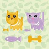Cartoon Cat and Dog Icons with food symbols (fish, bone) on seam