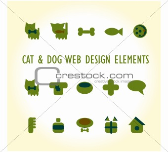 Cats, dogs and other pets and accessories icons
