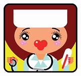 Portrait of a doctor. Cute Label