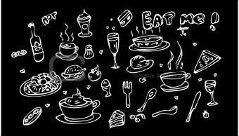 Fake tattoo Food Icon Set Doodle sketch Eat me!
