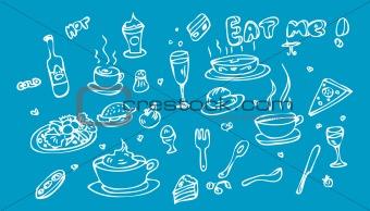 Fake tattoo Food Icon Set Doodle sketch Eat me!