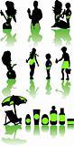 Family health beach vacation icons set sea eco color