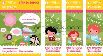 Four cute colorful banners with kids playing outside or getting