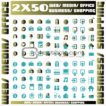 100 blue icons set - web / media / office / business / shopping