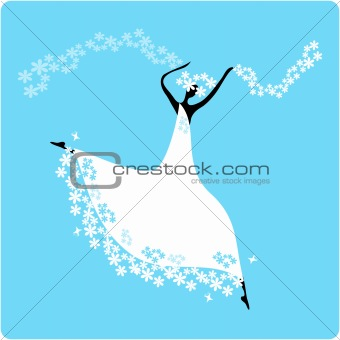 Bride in wedding dress white with bouquet. Dancing