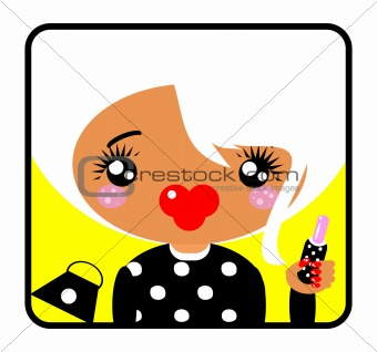 Cosmetic Girl Icons, Label, Sticker. Glam Lady emblem from big k