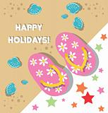 beach background card with floral flip flops