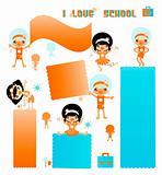 Kids school banners set. Happy active children