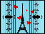 Love Paris vector eiffel tower in retro vintage style ad poster