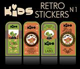 Kids vector set: vintage labels