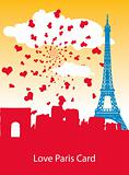 Love Paris vector retro vintage style ad poster card with heart