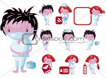 Medical website icons staff buttons vector kids set