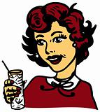 Retro Woman With Cocktail Glass with ice