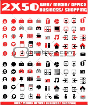 100 red and black vector environmental icons and design-elements