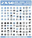 100 blue vector environmental icons and design-elements