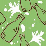 Fresh Milk Seamless food background pattern with milk bottle and