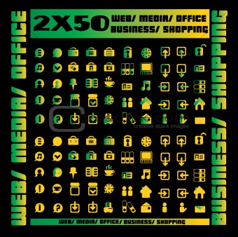 100 green icons set - web / media / office / business / shopping