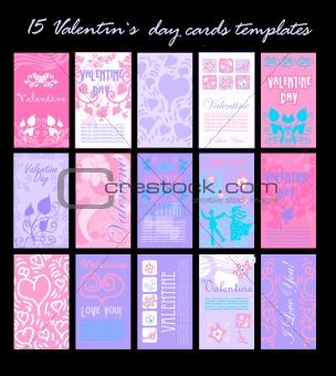15 Valentin`s day cards templates set. To see similar
