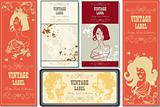 set of fake paper labels retro vintage woman flower nature beaut
