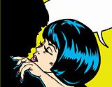 Popart comic 1 Love Vector illustration of a kissing couple love