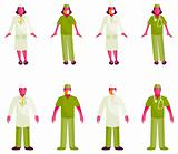 Vector medical people with stethoscopes. Doctors and nurses over