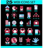 Web Icon Set. Easy To Edit Vector Image on dark background