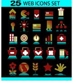 Icon Set for Web Applications - Vector on dark background
