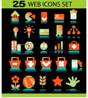 25 web icons set on dark background