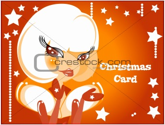 beautiful sexy girl wearing santa claus clothes card