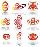 Design elements in warm colors. Emblems Set Vector.