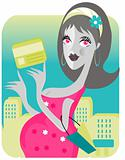 mama in the city. shopping with card. baby soon emblem