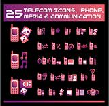 Telecom, media and communication icons. vector Icons for Web App