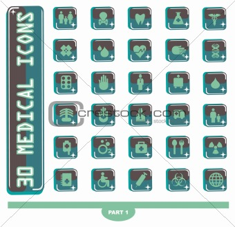30 shiny Medical icons, button Medicine & Heath Care